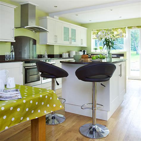 lime green kitchen  white cabinetry decorating