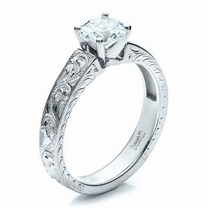 Custom hand engraved solitaire engagement ring 1485 for Engravings on wedding rings