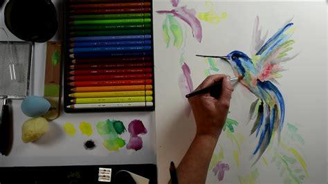 malen mit aquarellstiften kolibri mein kreativatelier