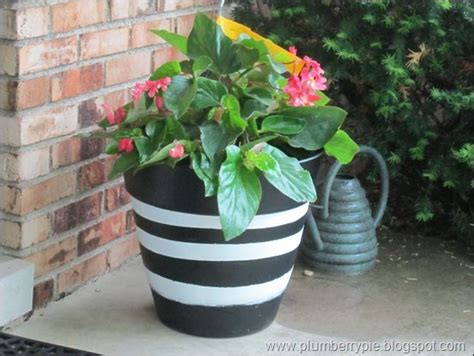 Black And White Striped Painted Pots