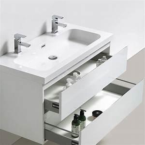 meuble bas de salle de bains blanc happy avec plan vasque With salle de bain design avec meuble salle de bain 100 cm blanc