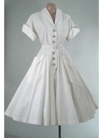 white tea length full skirt shirtwaist swing dress
