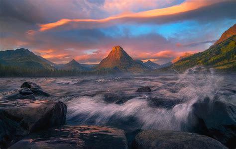 glacier lake  montana hd wallpaper background image