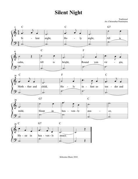 ▪ the first noel practice a simple, peaceful holiday melody with sheet music written for beginners, or learn an intermediate version decorated with. Silent Night Sheet Music and Silent Night Christmas Song for Kids! | Christmas music for kids ...