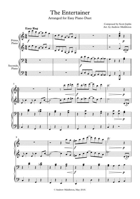 Risultati immagini per the entertainer bastien piano sheet music. The Entertainer For Easy Piano Duet Free Music Sheet - musicsheets.org