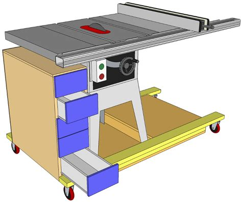 Cabinet Table Saw Mobile Base by Mobile Tablesaw Workstand