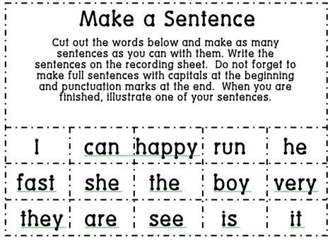 1st grade learning make a sentence