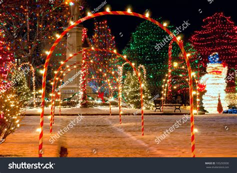 pathway candy cane arches leading brightly stock photo