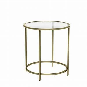 Glastisch Mit Holz : vasagle beistelltisch rund glastisch mit goldenem metallgestell kleiner couchtisch nachttisch ~ A.2002-acura-tl-radio.info Haus und Dekorationen