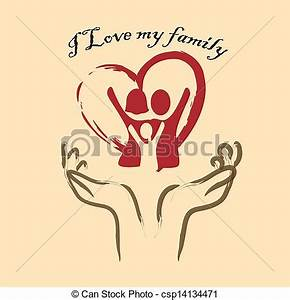 Vectors Illustration of i love my family over pink ...