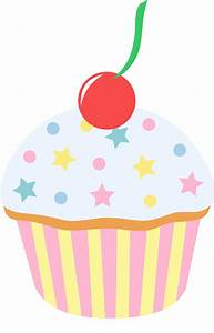 Vanilla Cupcake With Sprinkles and Cherry - Free Clip Art
