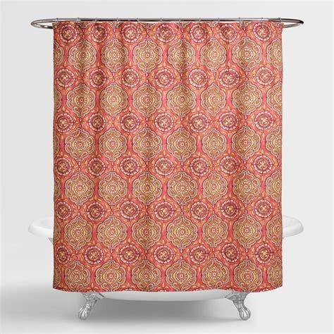 coral shower curtain coral medallion frieda shower curtain world market