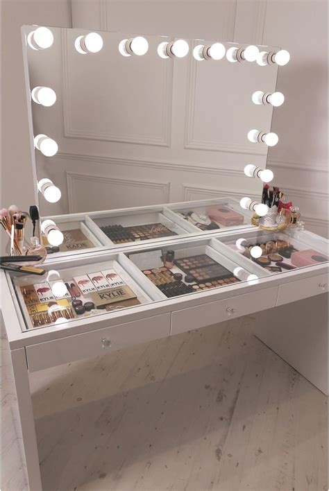 makeup desk with lighted mirror crisp white finish slaystation make up vanity with premium
