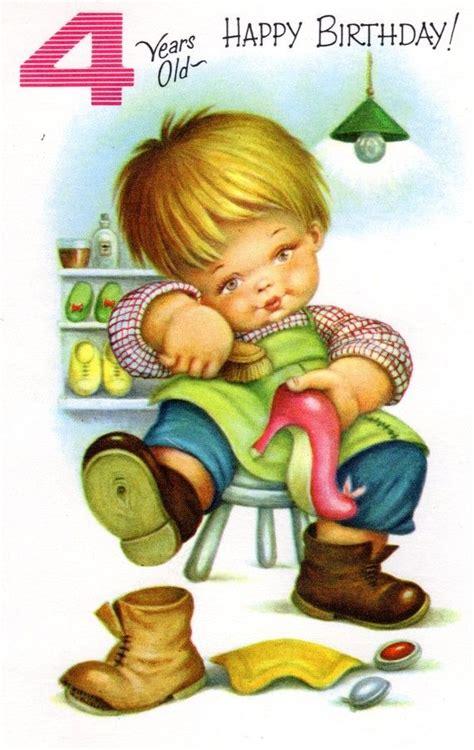 chubby cheek baby boy vintage birthday card