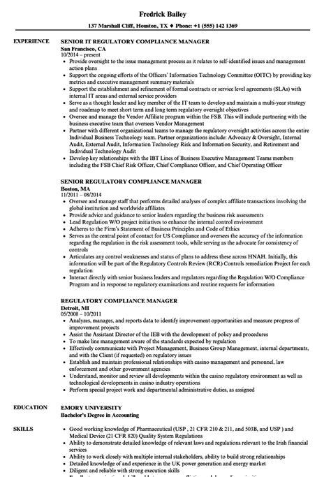 Regulatory Compliance Resume by Compliance Manager Resume Eezeecommerce