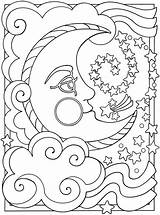 Moon Coloring Printable Phases Fantasy Halloween sketch template