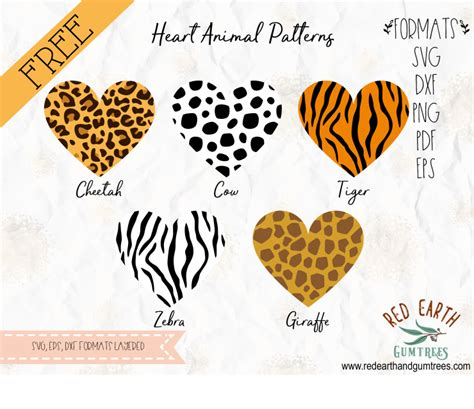 Download free vector patterns in svg format. Free Heart animal Patterns SVG, EPS, PDF, DXF, PNG, cricut ...