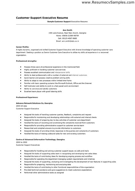 customer service executive resume format resume format