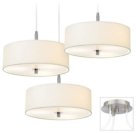 kitchen chandeliers lighting contemporary white drum brushed nickel multi light 3347