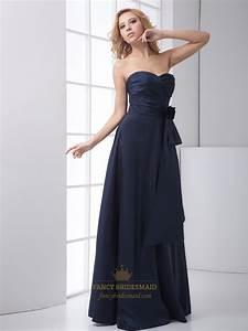 Navy Blue Strapless Sweetheart Flower Detail Bridesmaid ...