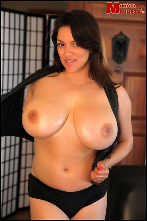 Busty Babe Monica Mendez Busts Out Of A Black Vest Coed