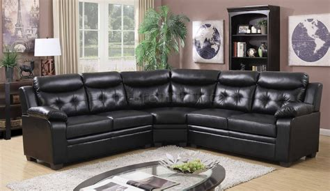 black faux leather sectional 3020 sectional sofa in black faux leather