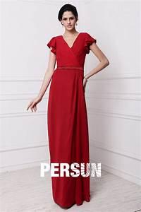 Robe Rouge Mariage Invité : robe rouge longue col v manche courte pour soir e invit mariage ~ Farleysfitness.com Idées de Décoration