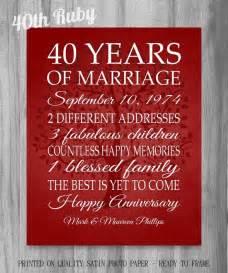 40th wedding anniversary gift ideas 25 best ideas about 40th anniversary gifts on 40th anniversary parents