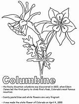 Coloring Colorado Columbine Mountain Rocky Drawing Flower State Flowers Kidzone Ws Pages Drawings Mountains Nouveau States Getdrawings Geography America Usa sketch template