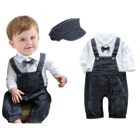 Toddler Kids Baby Boy Plaids Knickers Romper Hat Vintage Suit Outfit Clothes Set | coolbaby
