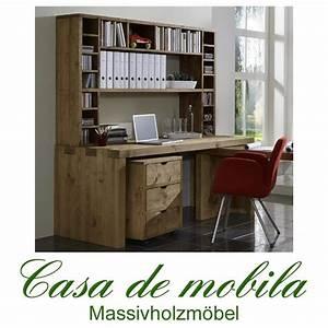 Schreibtisch Mit Aufsatz : schreibtisch kombination klein malmoe kiefer massiv gebeizt gewachst ~ Orissabook.com Haus und Dekorationen