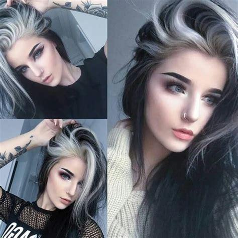Best 25 White Streak Hair Ideas On Pinterest Grey Hair