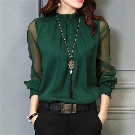 chiffon blouse   women tops long sleeve stand neck