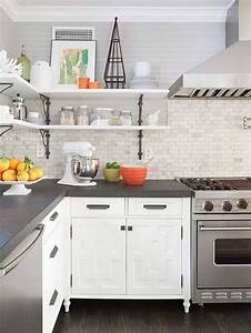Grey countertops edge cut white cabinets marble for Backsplash for white cabinets and grey countertops