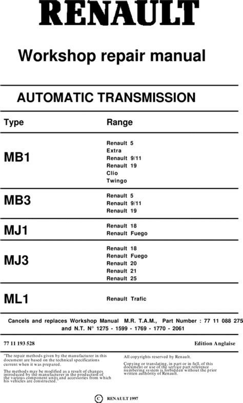 renault auto automatic gearbox workshop repair manual mb1