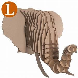 Trophée Chambre Bébé : troph e t te d 39 elephant en carton brun xxl 51x67x53 animatomy id es chambre b b elephant ~ Teatrodelosmanantiales.com Idées de Décoration
