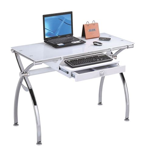 modern white computer desk modern chrome metal with white tempered glass computer desk
