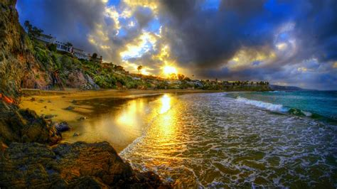 cresent bay beach  sunset usa ocean  hd