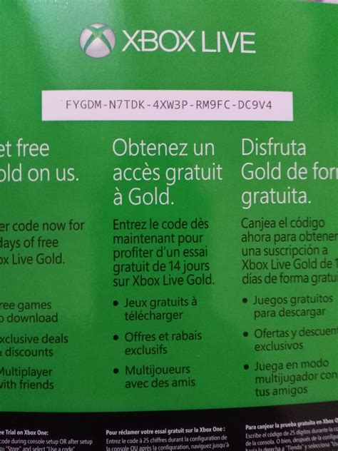 Xbox Live And Xbox Live Gold 14 Days Of Free Xbox Live Gold Code Xboxone