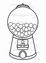 Gumball Machine Coloring Gum Bubble Clip sketch template