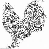 Rooster Coloring Pages Adults Zentangle Printable Chicken Animal Getcoloringpages Cartoon Getcolorings Books sketch template