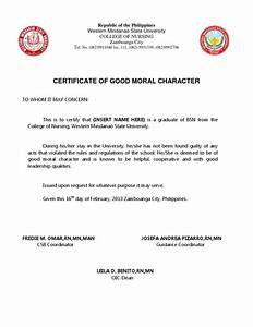 good moral character docsharetips With certificate of good moral character template
