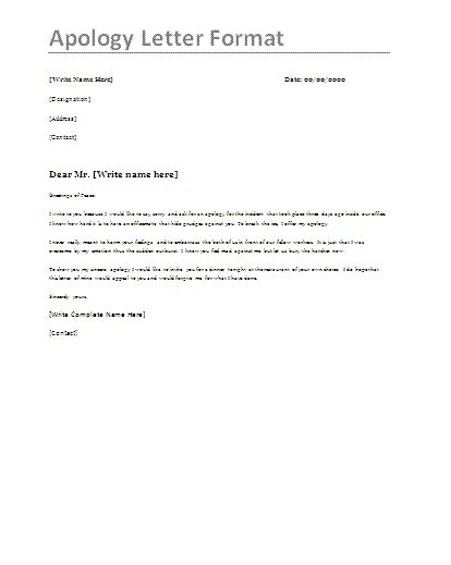 apology letter samples  word templates