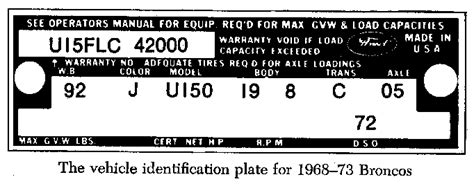 Ford Bronco Vin Plate Location, Ford, Free Engine Image