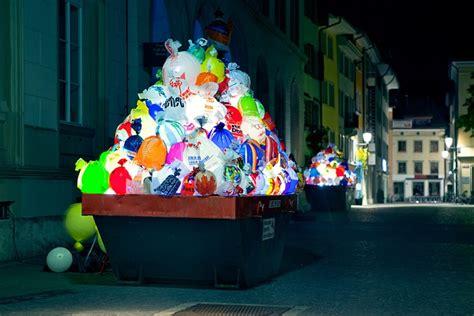 trash bags art illuminated garbage lights   city
