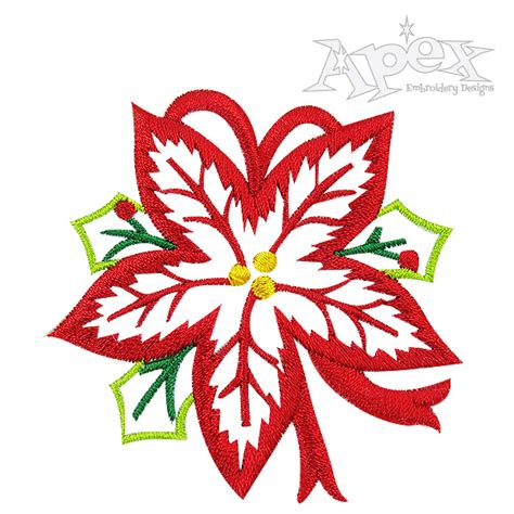 poinsettia design poinsettia flower embroidery design