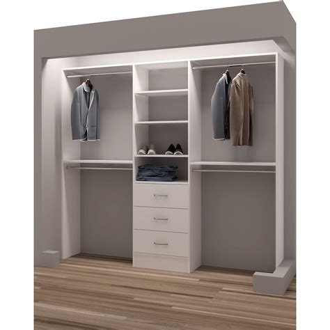 Closet With Drawers And Shelves by Tidysquares Classic White Wood 87 Inch Reach In Closet