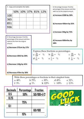gcse worksheets fractions percentage decimals by aliali