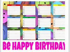 Birthday Calendar Excel Template Calendar 2018 Printable