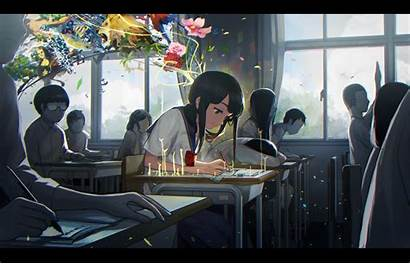 Studying Anime Background Classroom Gray Flowers
